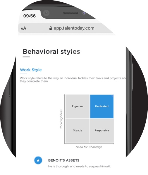 Behavior styles report shown on a mobile screen