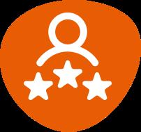 Person and three stars icon