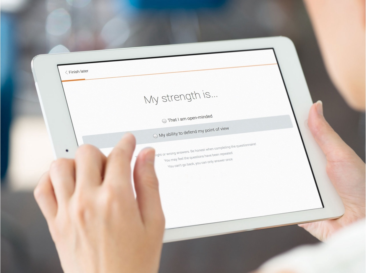 MyPrint Assessment on a tablet screen